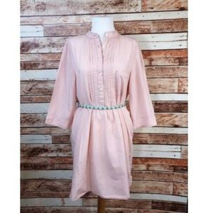 Garnet Hill Shirt Dress Blush Pink -1214-AF